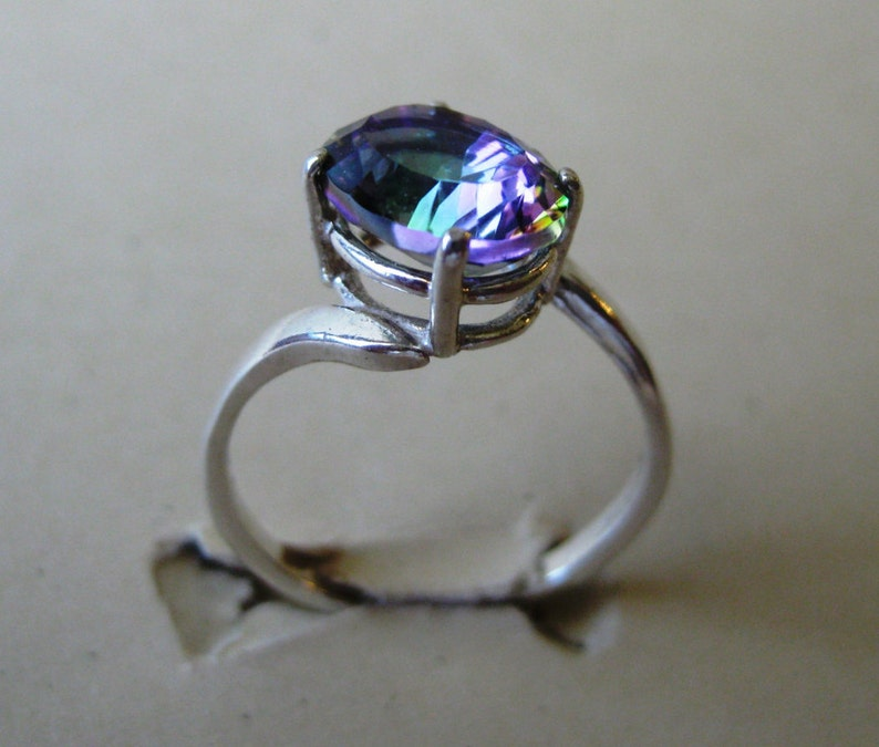 Rainbow Mystic Quartz 10x8mm Gemstone Ring Size 8 in image 0