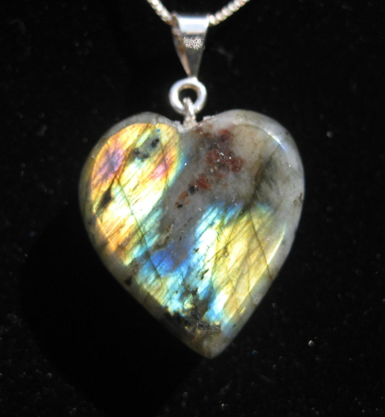 Labradorite Heart Pendant 23x25mm with Sterling Silver image 0