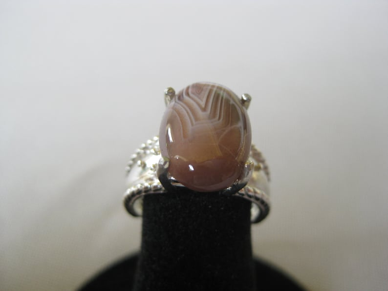 Botswana Agate 11x9mm Cabochon Sterling Silver Ring Size 6 image 0