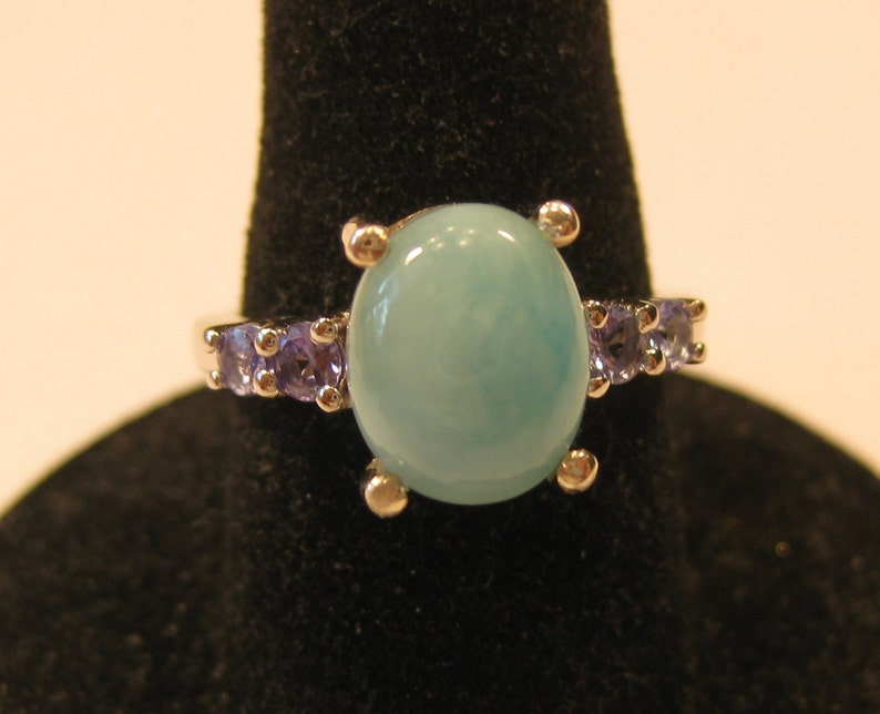 Larimar aka Pectolite  10x8mm Cabochon with Tanzanite set image 0