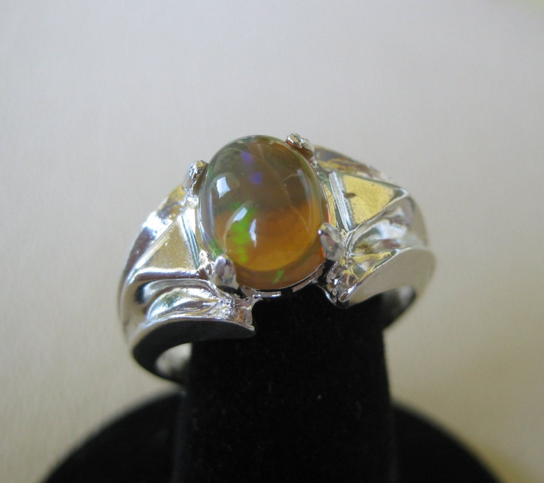Ethiopian Opal 10x8mm Sterling Silver Ring Size 10.5 No. image 1