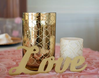Vintage Gold Metal Love Sign