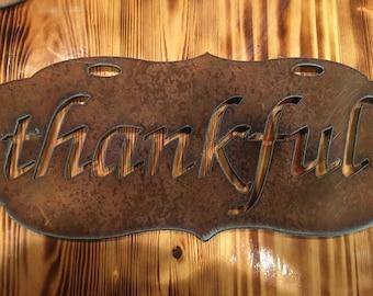 Thankful rusty sign