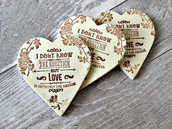 Rustic Wedding Favours Love Quote Fridge Magnet Clay Heart