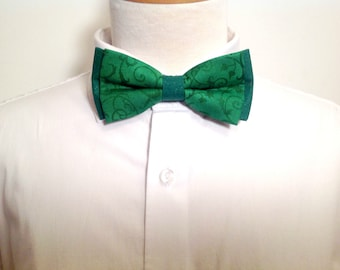 Adult bow tie, green abstract pattern
