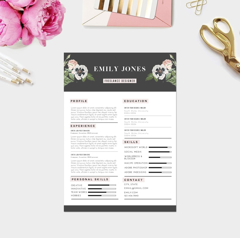 Custom CV Template / Custom Cover Letter template ( 3 page pack )/ Word +  PSD/ Fonts included / Instant Digital Download