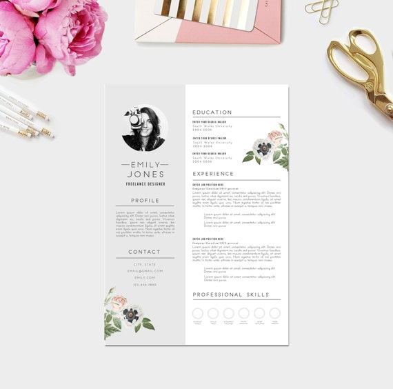 Custom CV Template / Word +PSD /Custom Cover Letter template ( 3 page pack  )/ Fonts included / Instant Digital Download