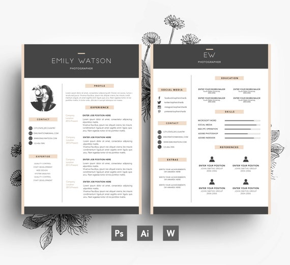Carte De Visite Modle CV Lettre Motivation Facilement Modifiable PSD Fichier Polices Inclus Tlchargement