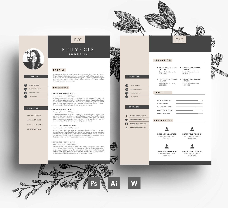 Plantilla de página CV personalizado 3 / tarjeta de visita | Etsy