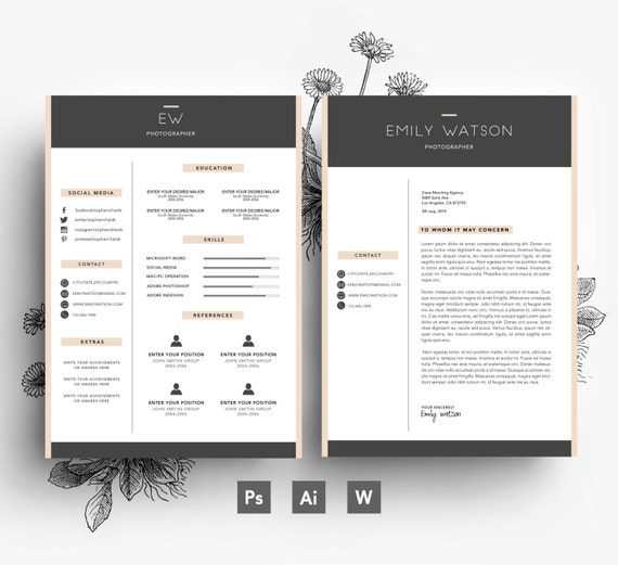 Carte De Visite Modle CV Lettre Motivation Facilement Modifiable PSD Fichier Polices