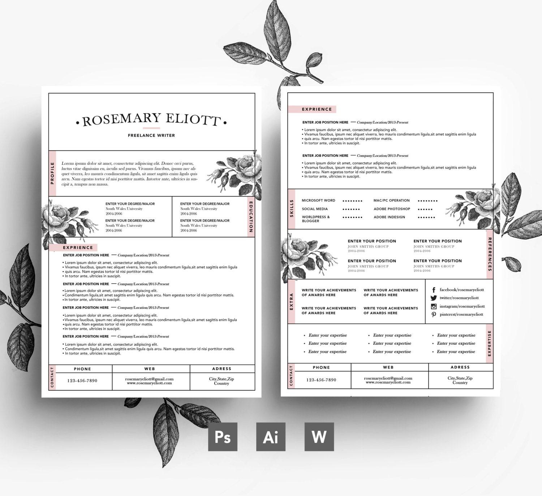 Creativas tarjetas de visita plantilla de CV carta / fácil | Etsy