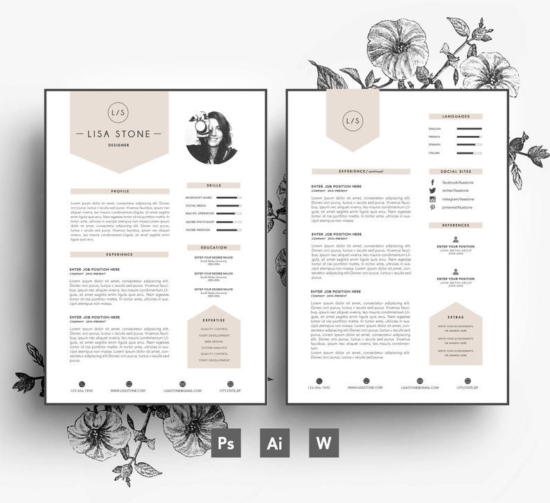 Modern template/ Business car/CV template/Cover letter/editable PSD/Word  file/Fonts included /Instant Digital Download/Creative Resume
