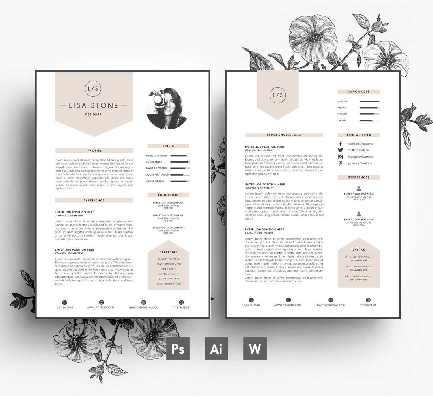 Modern template/ Business car/CV template/Cover | Etsy