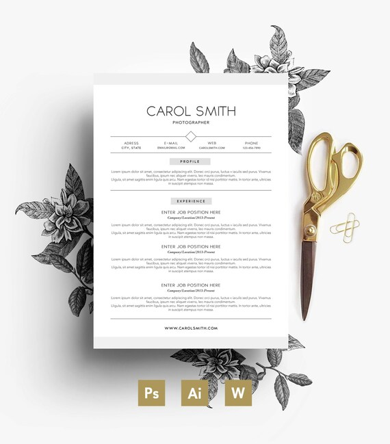 Custom CV/ Custome PSD 3 page Resume/ Custom Cover letter/ Fonts included /  Instant Digital Download/ Custom design