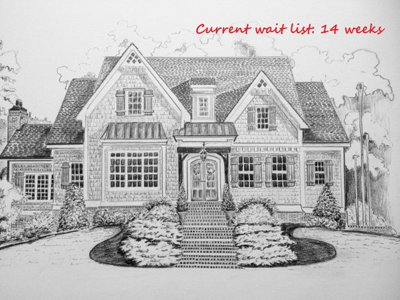 Benutzerdefinierte Haus Bleistiftskizze ersten Jahrestag