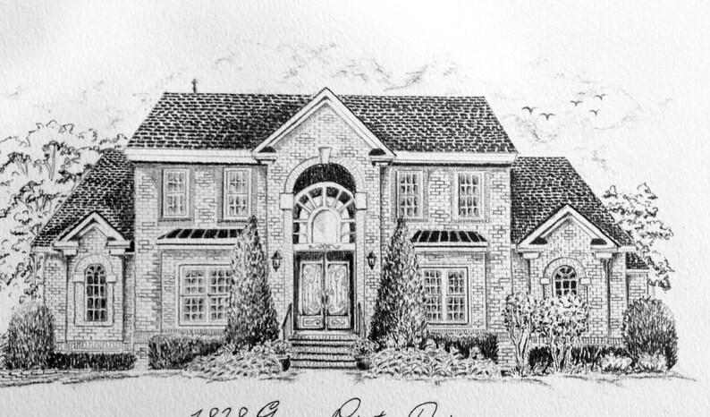 Dessin maison 8 x 10, croquis au crayon, agent immobilier cadeau  anniversaire cadeau, personnalisé illustration au crayon personnalisé