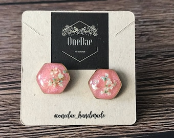 Pink Hexagon earrings
