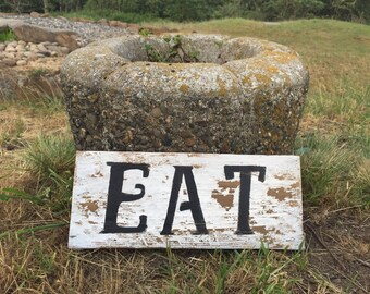 "Made To Order, Rustic vintage style ""EAT"" wood kitchen sign, reclaimed wood sign, country kitchen sign, rustic kitchen decor, home decor"