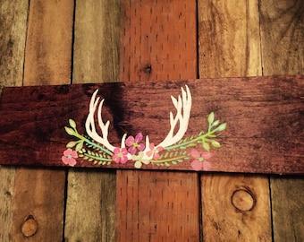 Made To Order- Antler & flowers wood art, woodland nursery art, antler wall decor,deer antler art, antler decor, baby girl nursery