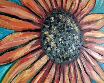 Acrylic On Canvas//Gold Sunflower//Flower Painting//Original Painting