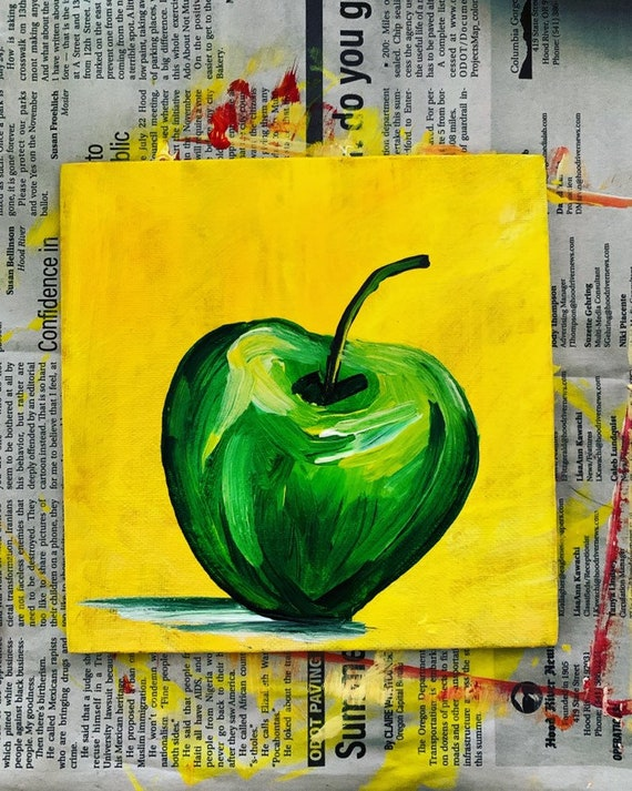 Apple Painting Fruit Art Apple Art Acrylic Art Kitchen Etsy