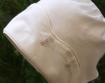 Hand Embroidered Ivory Winter Cotton Baby Girls Lined Bonnet to fit size 6-12 months