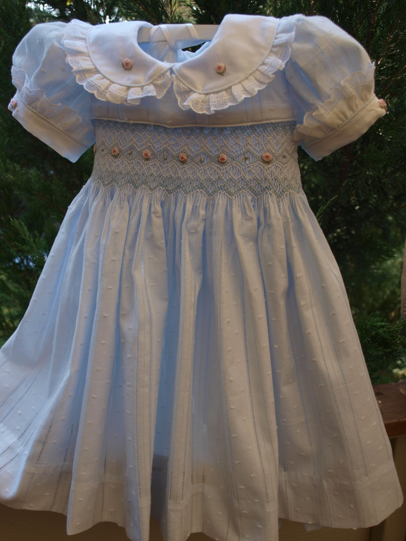 946f52263288 Blue Cotton Voile Hand Smocked and Embroidered Baby Girls | Etsy