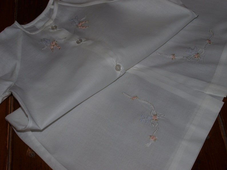 5f49af667fd5 Hand Embroidered White   Blue Cotton Voile Baby Nightgown