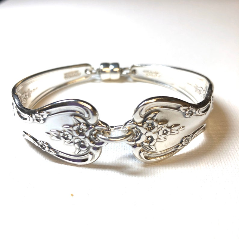 photo of handmade silverware bracelet