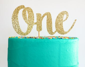 READY TO SHIP! One cake topper | Gold glitter one topper | First birthday cake topper | 1st birthday topper | Glittery cake topper |