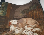 Needlepoint and petit point pillow cover-case Dog and puppies