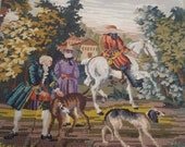 Needlepoint and petit point pillow cover-case Hunting scene