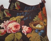Needlepoint and petit point pillow covers-cases Floral with Bird nest