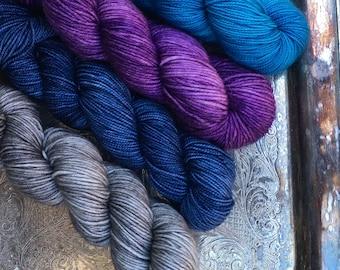 4 Skein Kit.Hand Dyed Yarn. Merino. Sock Weight. Gigi Bonin