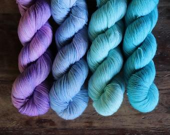 4 Skein Kit. Hand Dyed Yarn. Sock Weight. 1600 yds. Gigi Bonin