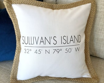 Sullivan's Island coordinates pillow cover - White