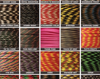 Made in the United States Bored Paracord 550 Paracord for Paracord Crafts 50ft 100ft Hyper