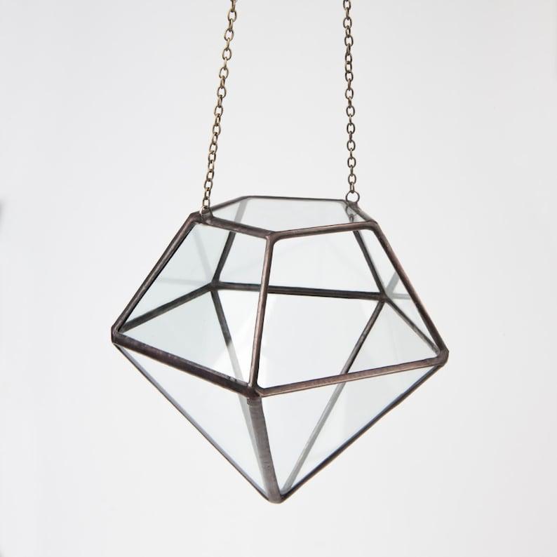 Hanging Geometric Terrarium Clear Glass Diamond Planter Etsy
