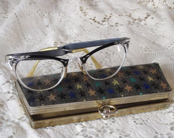 d4ae10dc05c Antique Eyeglasses Cat Eye Glasses with Case