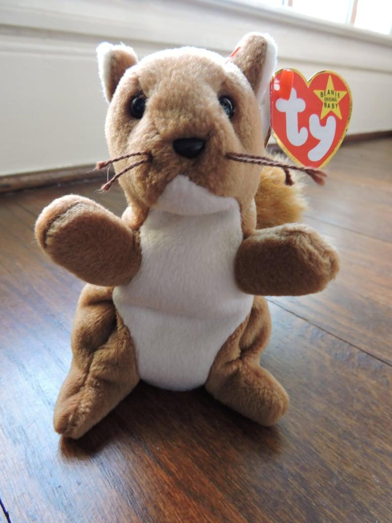 9a68b254eb9 1996 RETIRED Nuts the Squirrel ORIGINAL Ty Beanie Baby. Born