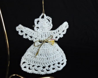 Vintage Hand-made White Crochet Christmas Angel with Gold Ribbon