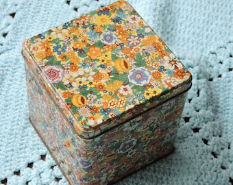 Multi-Color Floral Daher Tin with Hinged Lid - Made in England