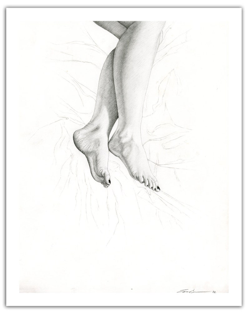 Sheets wall art decor modern art drawing illustration woman in bed with dreams black and white signed print feet female figure