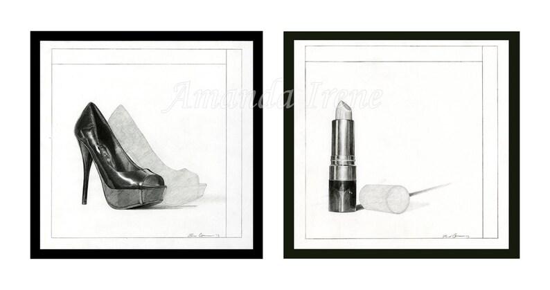 bad4cd46 Szminki wysokie obcasy buty Dyptyk Wall art ilustracja 2 2 | Etsy
