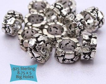 Steling Silver Large Hole Pebble Rock Texture Beads--1 Pc | 44-150-BH29S