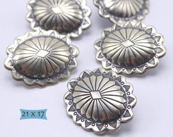 925 Silver Southwest Large Concho Shank Button--1 Pc | 44-B117S