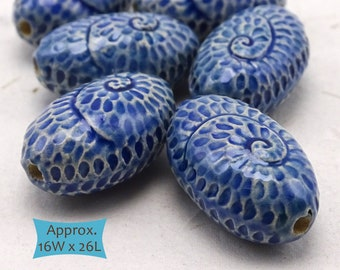 Hand Painted Artisan Ceramic Oval Beads Spiral Pattern--1 Pc | 33-210 IBL-1