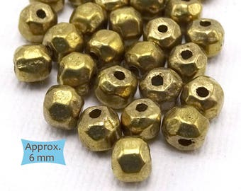 Small Rustic Solid Brass Beads--10 Pcs.| 26-625BR-10