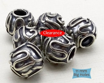 Large 925 Sterling Beads Large Holes--1 Pc.--BEADS ON SALE | 29-BW221-1