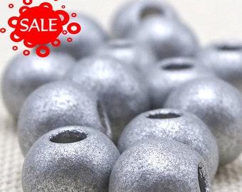 Silver Matte Ceramic Big Hole Beads--9mm--20 Pcs 38-995-SL CLEARANCE